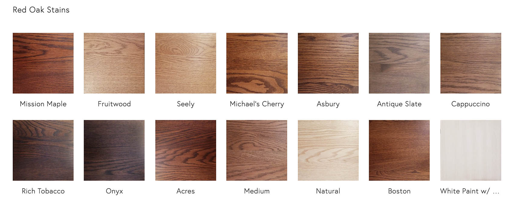 Red Oak Stains